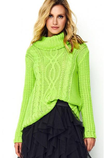 Sweter limonkowy z golfem S83