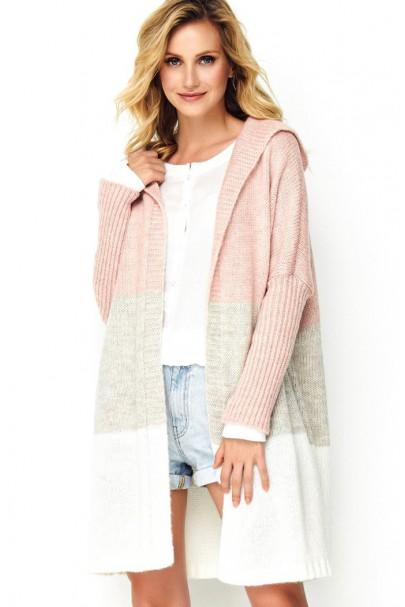 Trójkolorowy sweter z...