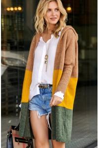Trójkolorowy sweter z kapturem S84