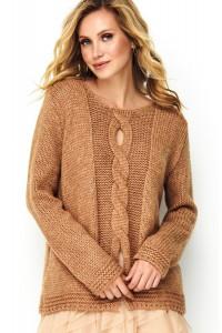 Sweter camelowy z warkoczem S85
