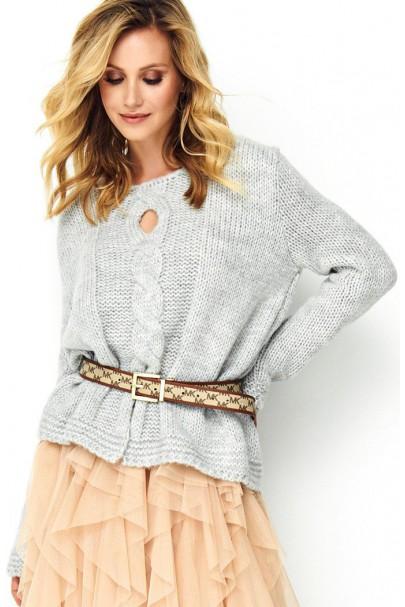 Sweter szary z warkoczem S85