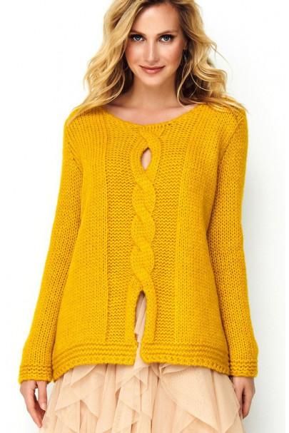 Sweter musztardowy z...