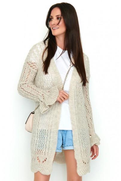Ażurkowy sweter beżowy NU_S49