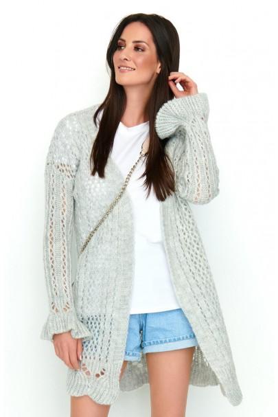 Ażurkowy sweter szary NU_S49