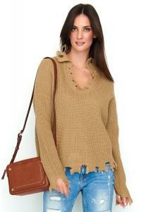 Sweter cappucino z wystrzępieniem NU_S50
