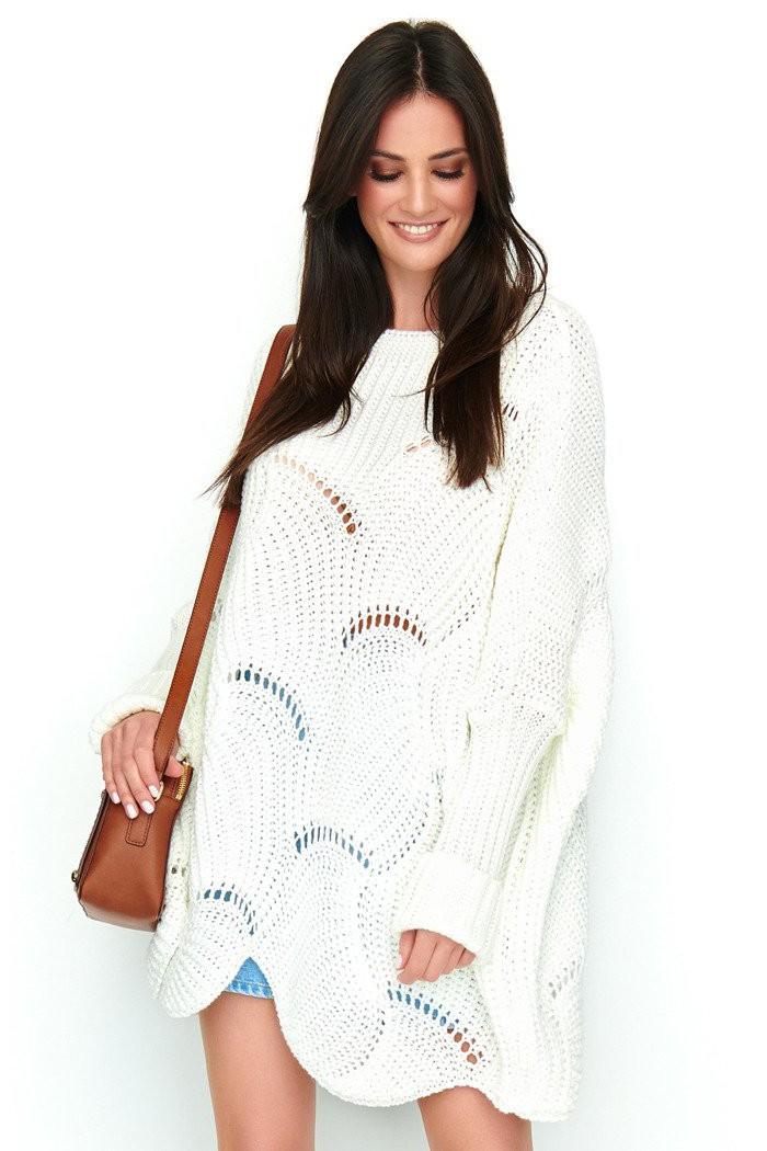 Ażurowy sweter ecru NU_S51