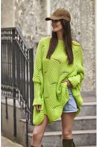 Ażurowy sweter limonkowy NU_S51