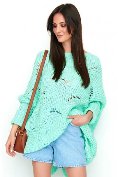 Ażurowy sweter miętowy NU_S51