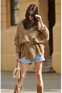 Ażurowy sweter orzechowy NU_S51