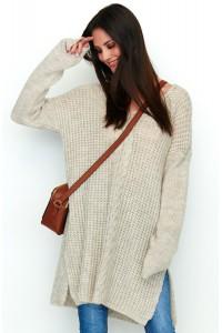 Sweter beżowy z warkoczem NU_S53