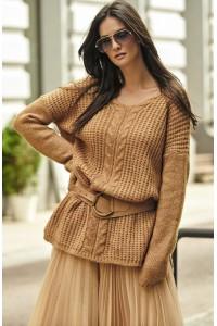 Sweter camelowy z warkoczem NU_S53