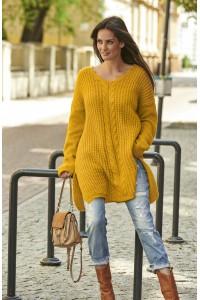 Sweter musztardowy z warkoczem NU_S53