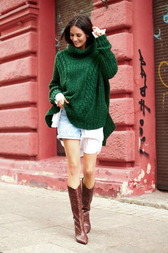 Sweter butelkowa zieleń z...