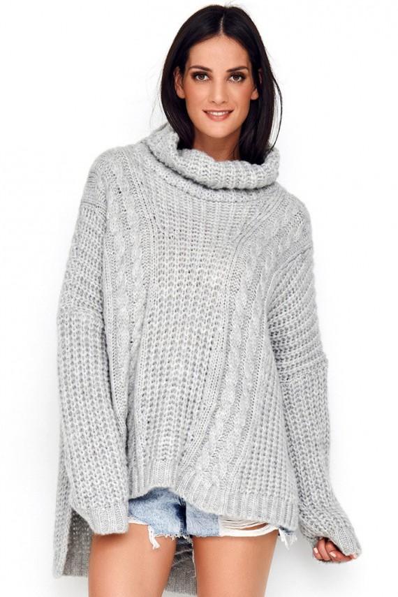 Sweter szary z golfem NU_S54