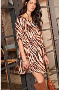 Sukienka w brązowe paski NU181