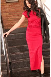 Sukienka maxi z rozcięciem fuksja NU176