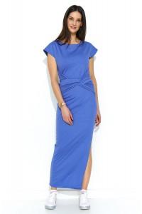 Sukienka maxi z rozcięciem jeans NU176