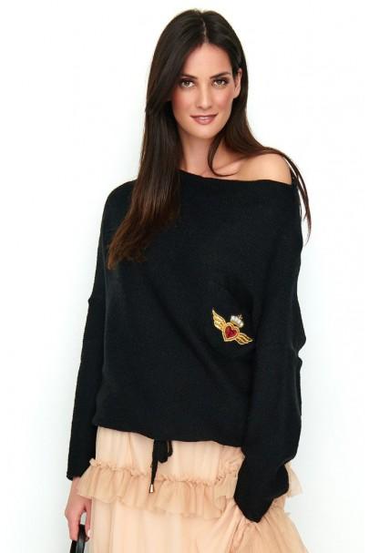 Sweter czarny z kieszenią...