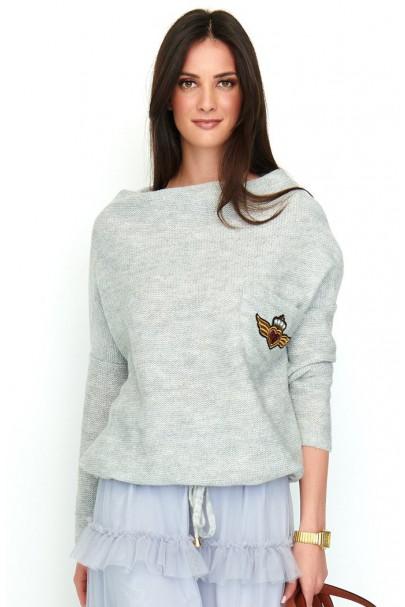 Sweter szary z kieszenią...