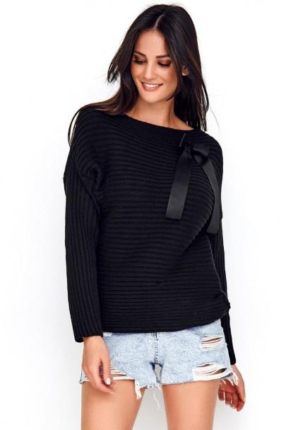 Sweter czarny z kokardą NU_S56