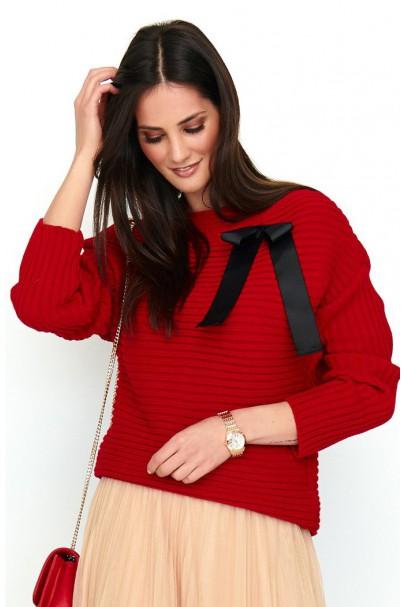 Sweter czerwony z kokardą...