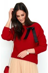 Sweter czerwony z kokardą NU_S56