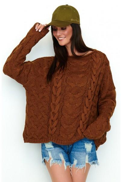 Sweter brązowy z warkoczami...