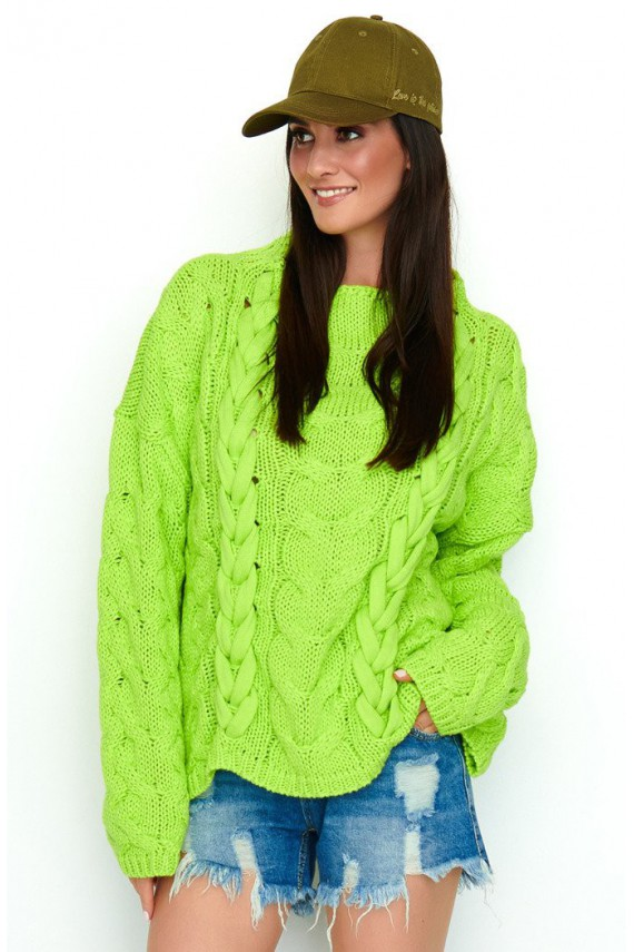 Sweter limonkowy z...