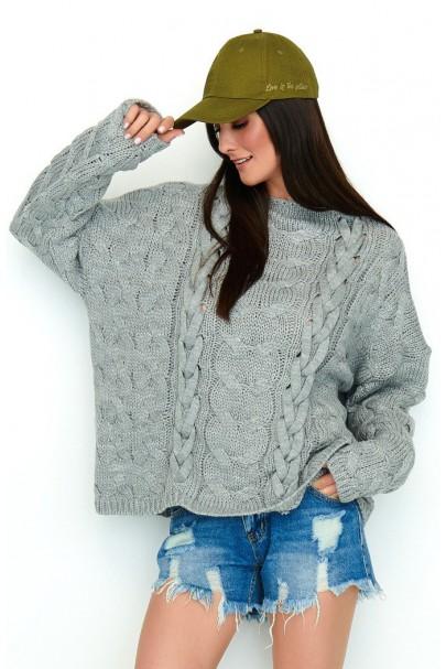Sweter szary z warkoczami...