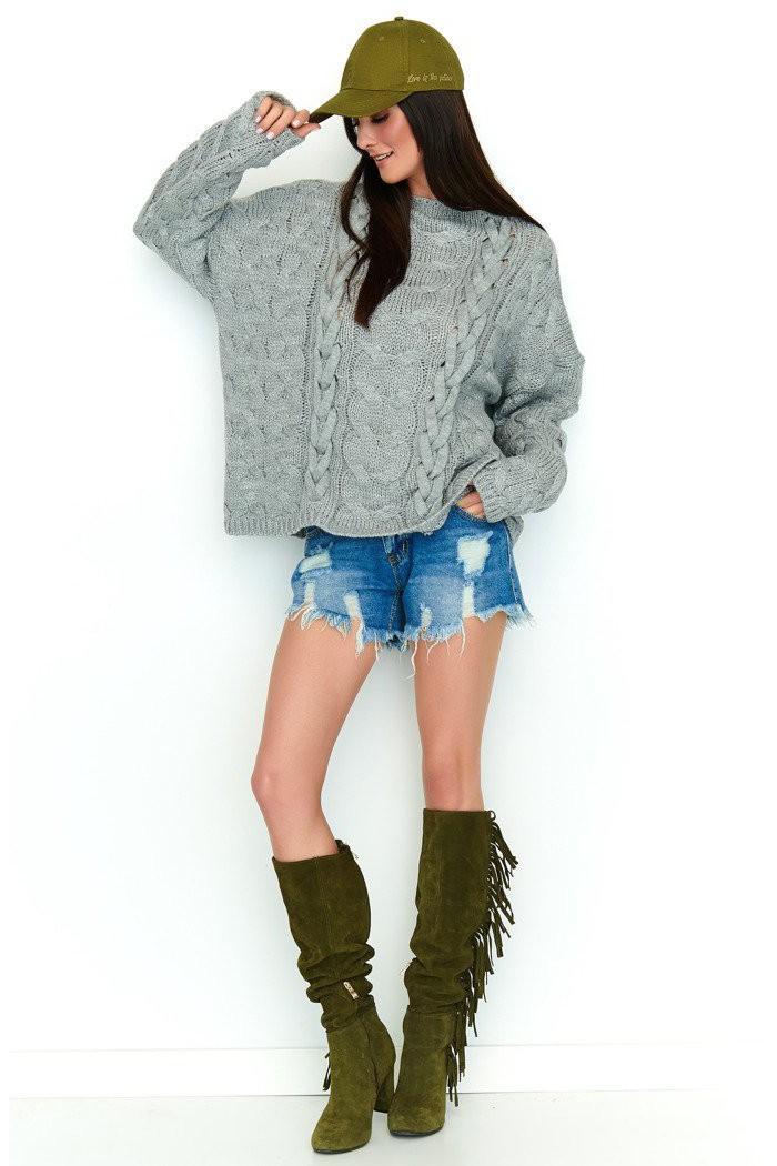 Sweter szary z warkoczami NU_S57