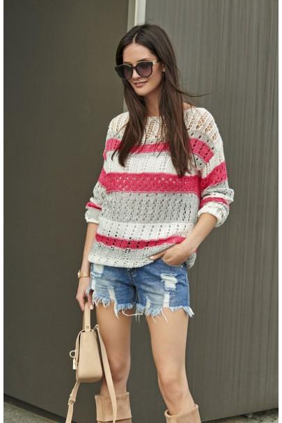 Sweter kolorowy ażurkowy...