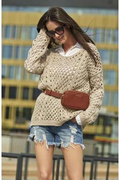 Ażurkowy sweter beżowy NU_S59