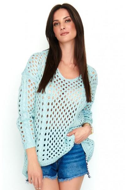 Ażurkowy sweter błękitny...
