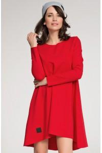 Sukienka czerwona trapezowa NU37