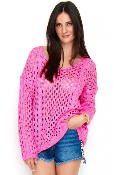 Ażurkowy sweter fuksja NU_S59