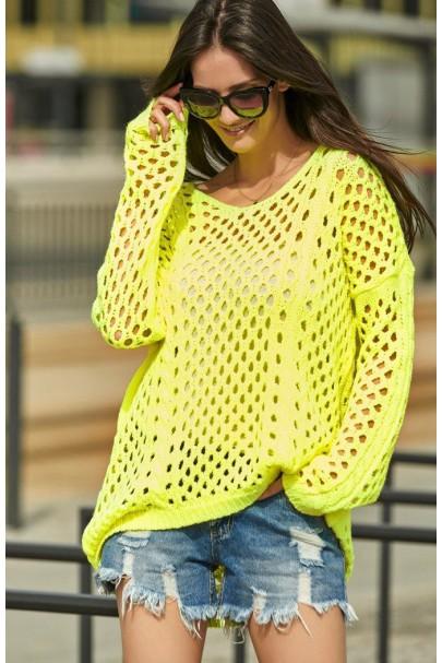 Ażurkowy sweter neonowy...
