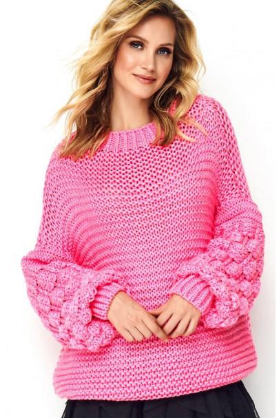 Sweter neonowy z szerokimi...