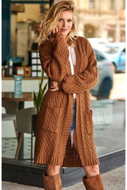 Długi sweter brązowy S88