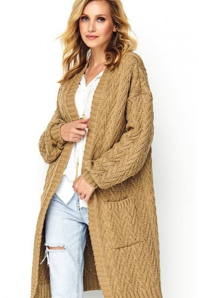 Długi sweter orzechowy S88