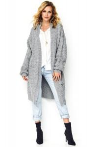 Długi sweter szary S88