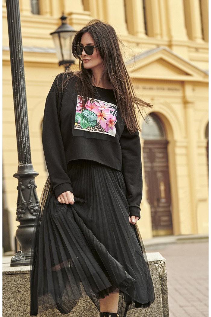 Spódnica tiulowa plisowana z gumą w talii czarna NU183