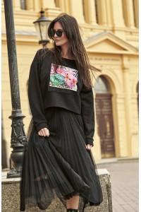 Spódnica plisowana czarna NU183