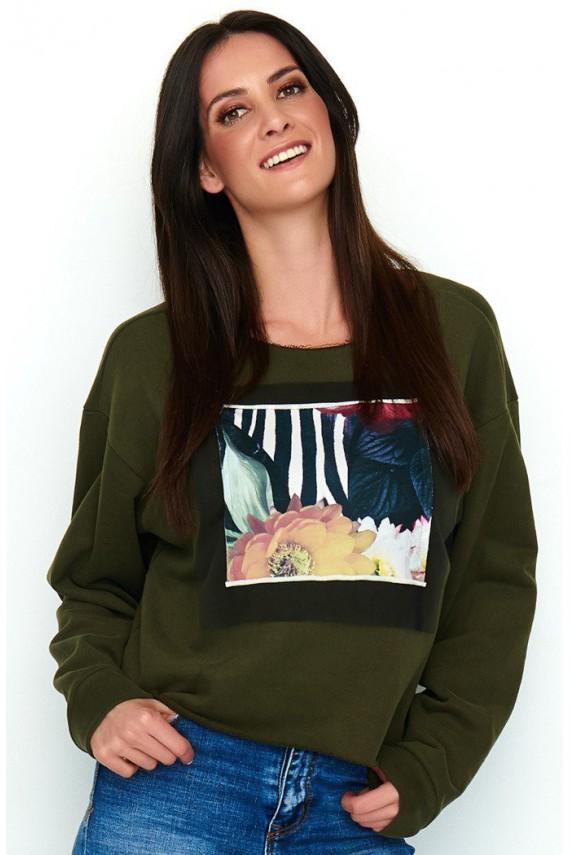 Bluza khaki z printem NU186