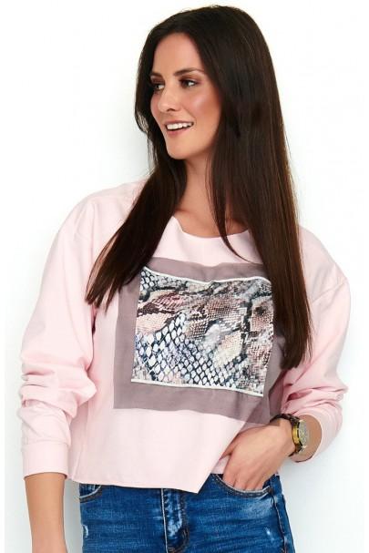 Bluza pudrowy róż z printem...