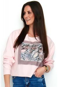 Bluza pudrowy róż z printem NU186