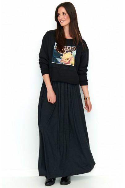 Spódnica maxi czarna NU188
