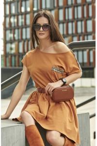 Sukienka camelowa ze zdobieniami NU192