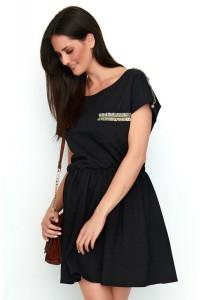 Sukienka czarna ze zdobieniami NU192