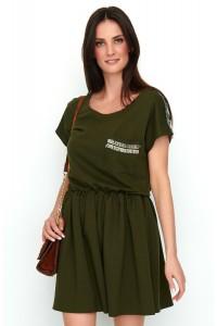 Sukienka khaki ze zdobieniami NU192