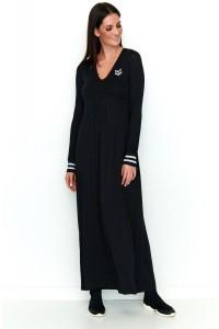 Sukienka maxi z aplikacją i ozdobnymi mankietami czarna NU198